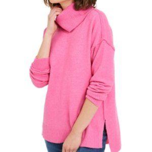 Bar iii Turtleneck High-Low Sweater, Pink, SZ XS